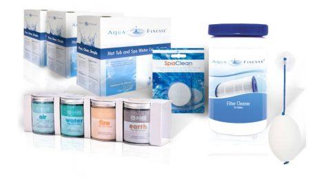 1 Éves AquaFinesse vízkezelő csomag (3 doboz AquaFinesse) +ajándék SpaDeluxe, SpaClean, Szűrőtisztító, Absorb-it zsírösszefogó szivacs